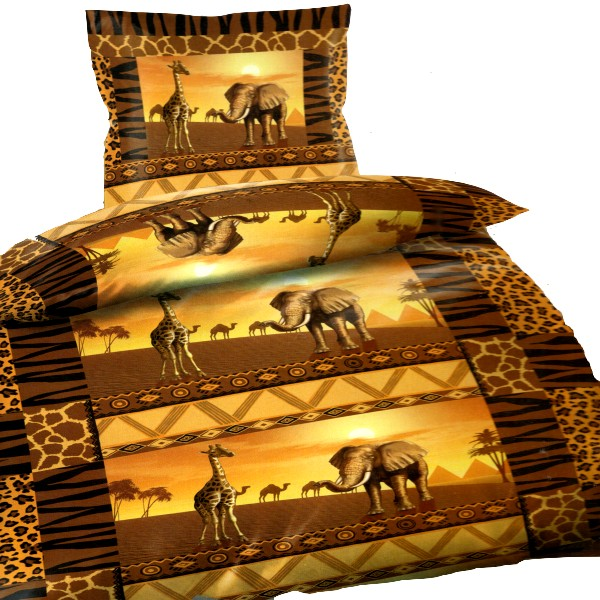 2 garnituren set afrika elefant giraffe mikrofaser bettw sche 135x200cm sch n ebay. Black Bedroom Furniture Sets. Home Design Ideas