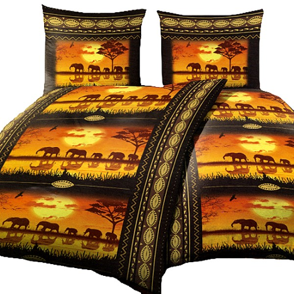 2x garnituren afrika savanne elefanten erdfarben mikrofaser bettw sche 135x200cm ebay. Black Bedroom Furniture Sets. Home Design Ideas