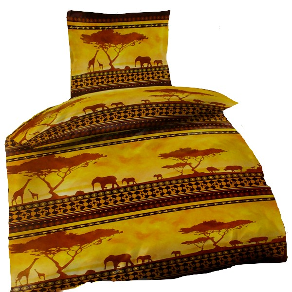 afrika savanne erdfarben baobab giraffe elefant mikrofaser bettw sche 135x200cm ebay. Black Bedroom Furniture Sets. Home Design Ideas